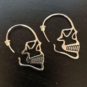 Jewelry - 💀 Silver Skull Silhouette Pierced Earrings 💀
